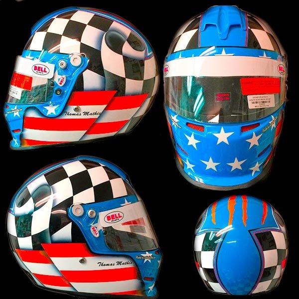 Bell race helmet wavy flag design for dirt racing